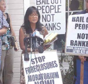 June Reyno of Mira Mesa, California Protesting Foreclosures